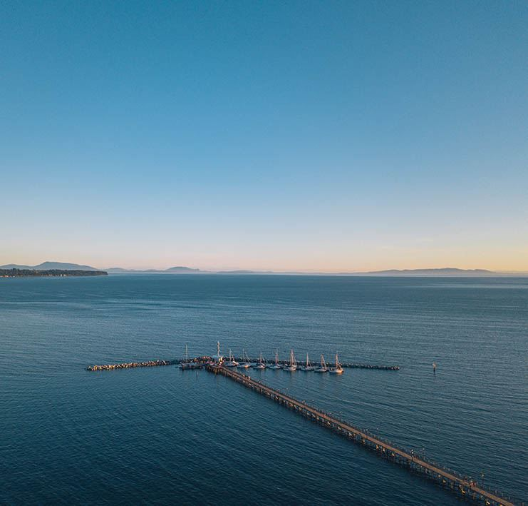 View of White Rock Marina and Pier from Air