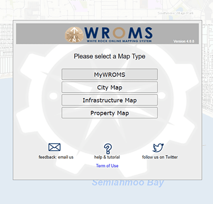 Homepage of the WROMS screen