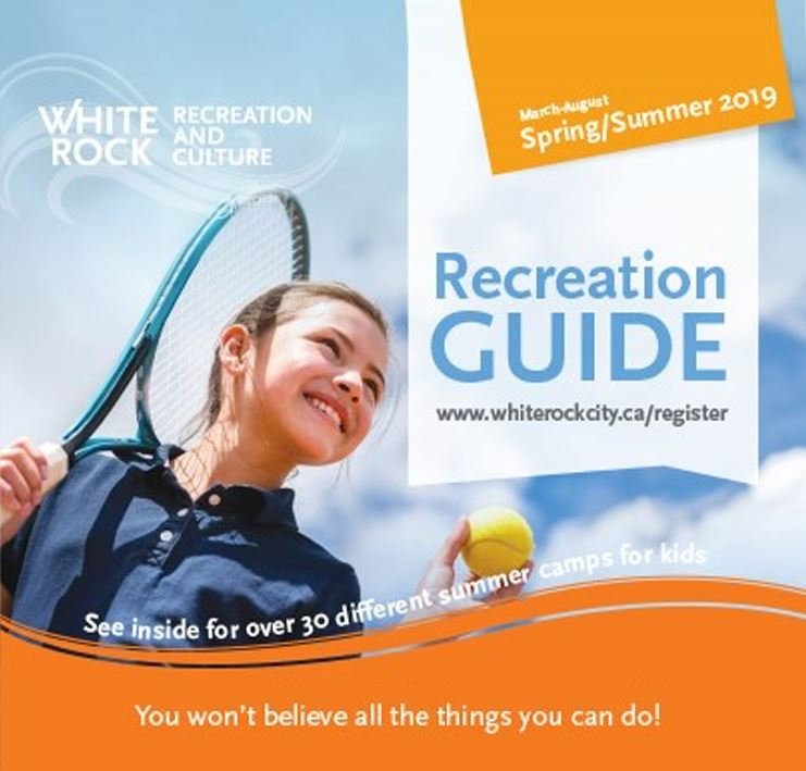 White Rock Spring Recreation Guide cover with girl holding tennis raquet