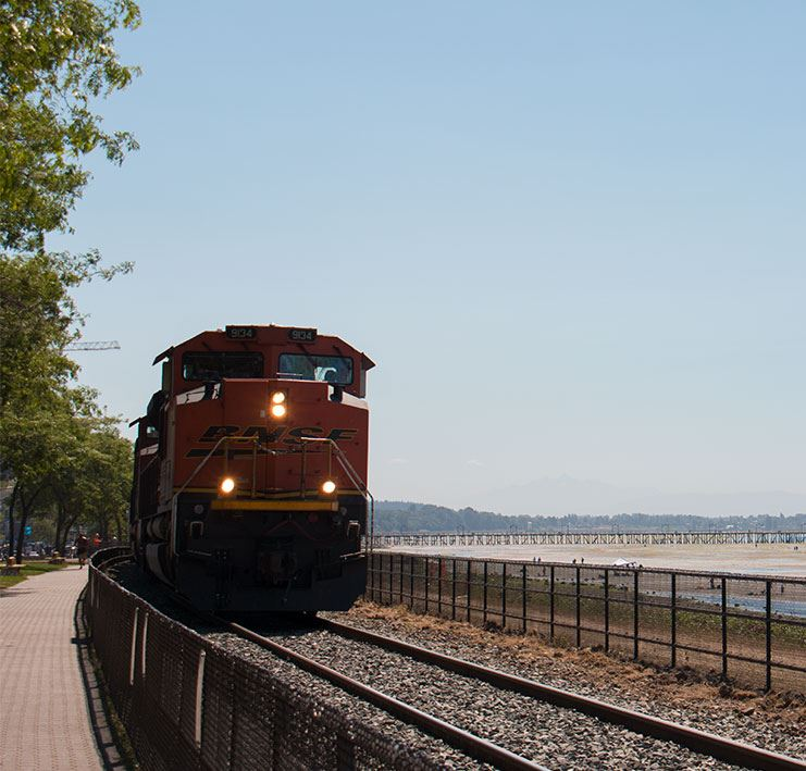 train on the railway along the beach waterfront