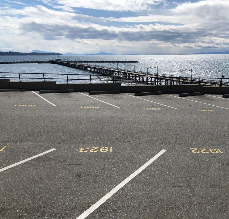 Parking lot at White Rock waterfront overlooking the White Rock Pier