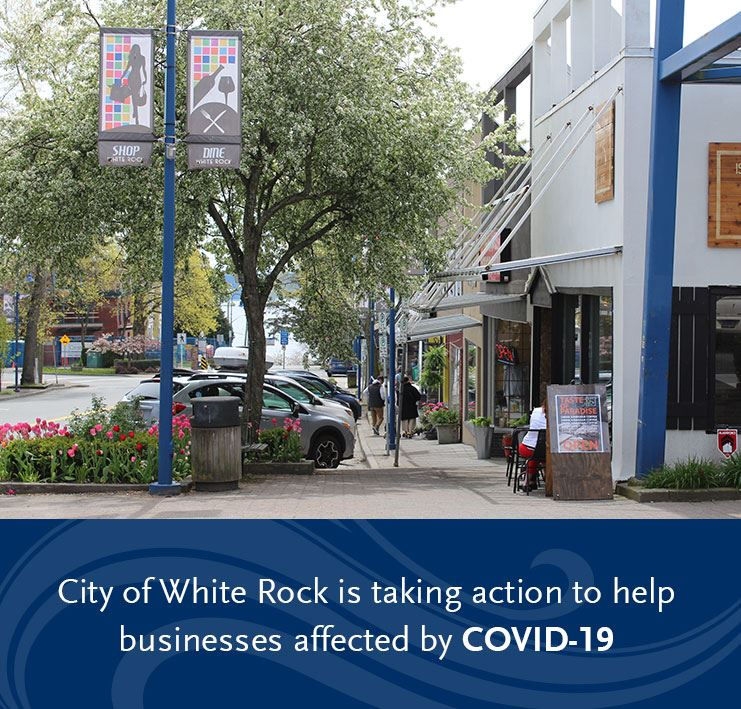 Business in White Rock with outdoor patio and spring time flowers in bloom