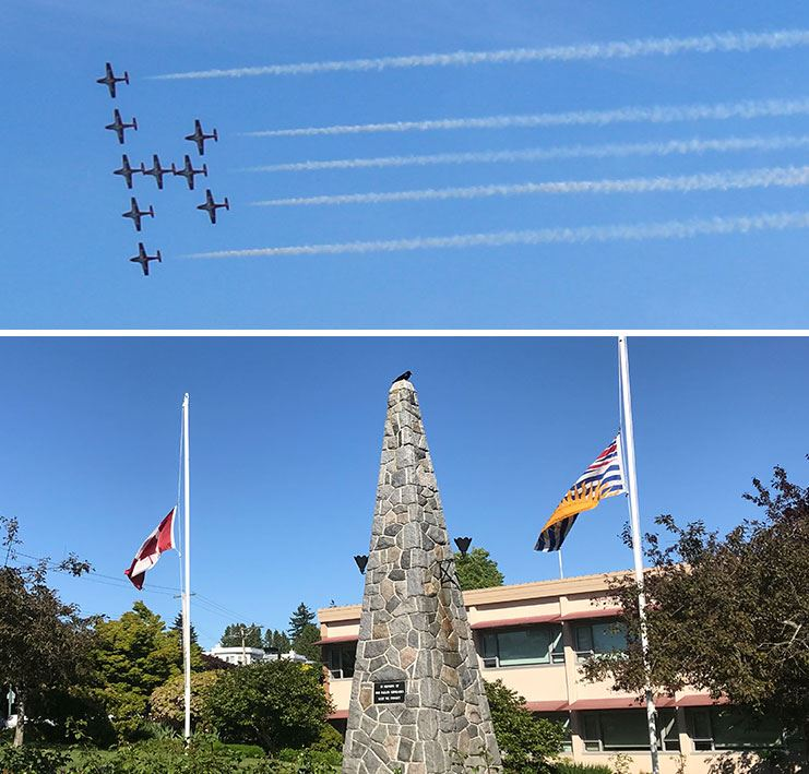 Flags at White Rock City Hall at half mast in memory of fallen snow birds pilot.