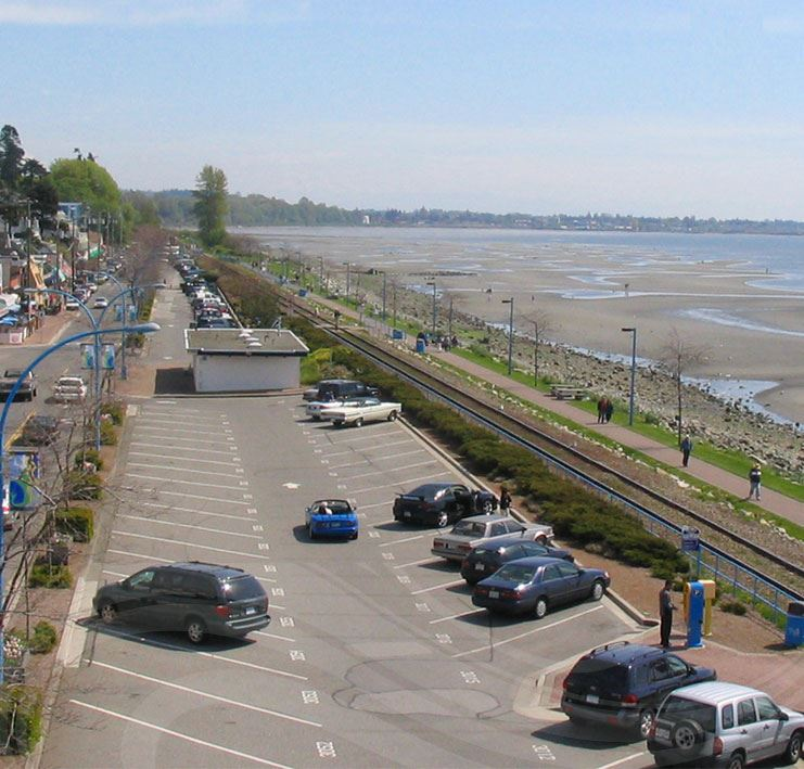 East beach at White Rock with ocean waterfront.