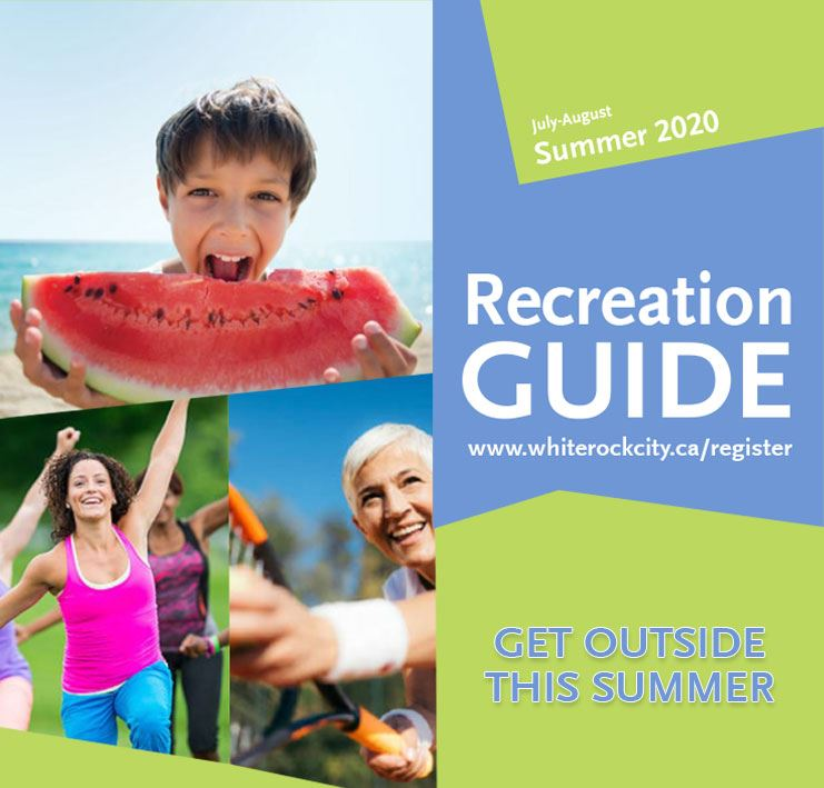 Summer 2020 Recreation Guide - Kid eating watermelon, senior woman playing tennis