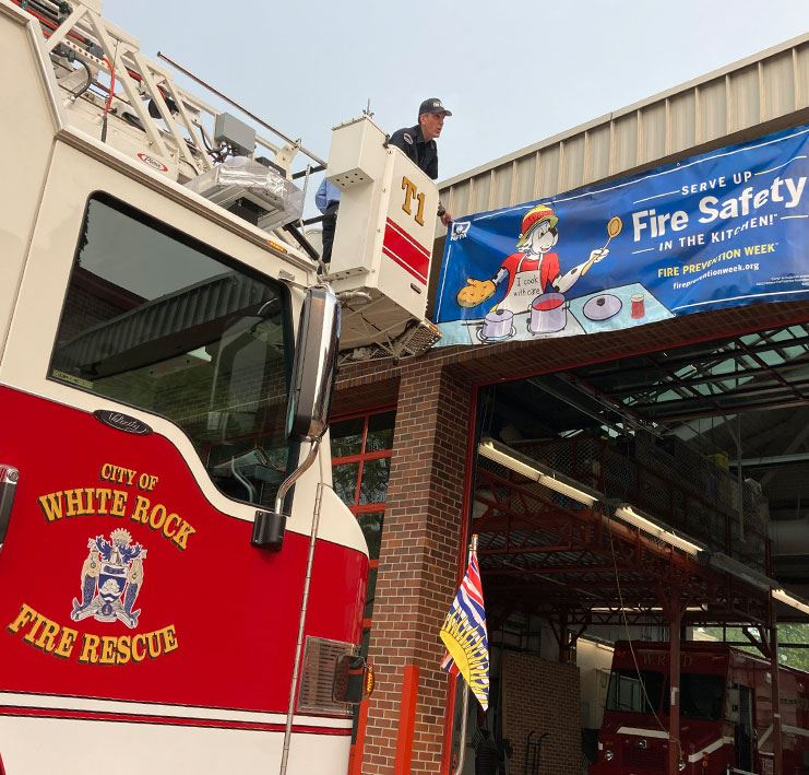 Fire Prevention Week Banner in-front of White Rock Fire Rescue