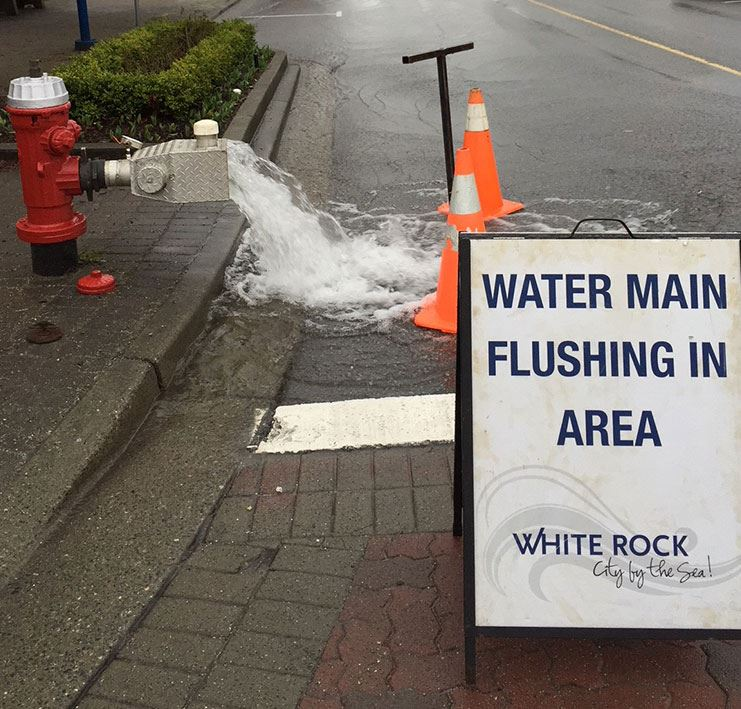water main flushing in White Rock