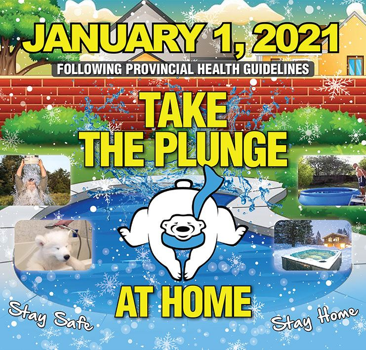 Polar bear plunging into water - Polar Plunge 2021