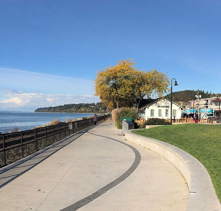 White Rock Promenade with White Rock Museum in background.