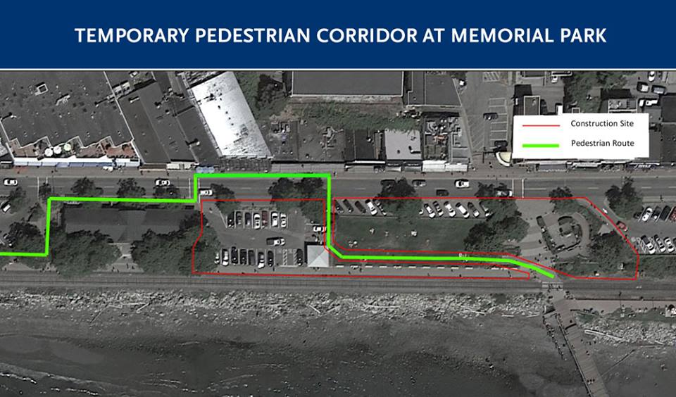 Memorial Park Construction Notice Map of Temporary Path