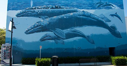 Art mural of blue whales.