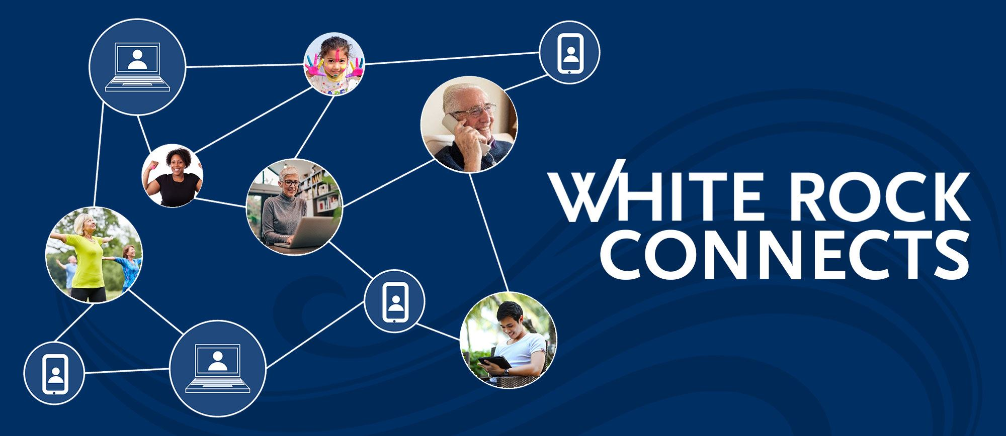 White Rock Connects - people connecting through the phone, computer, or physically distanced.